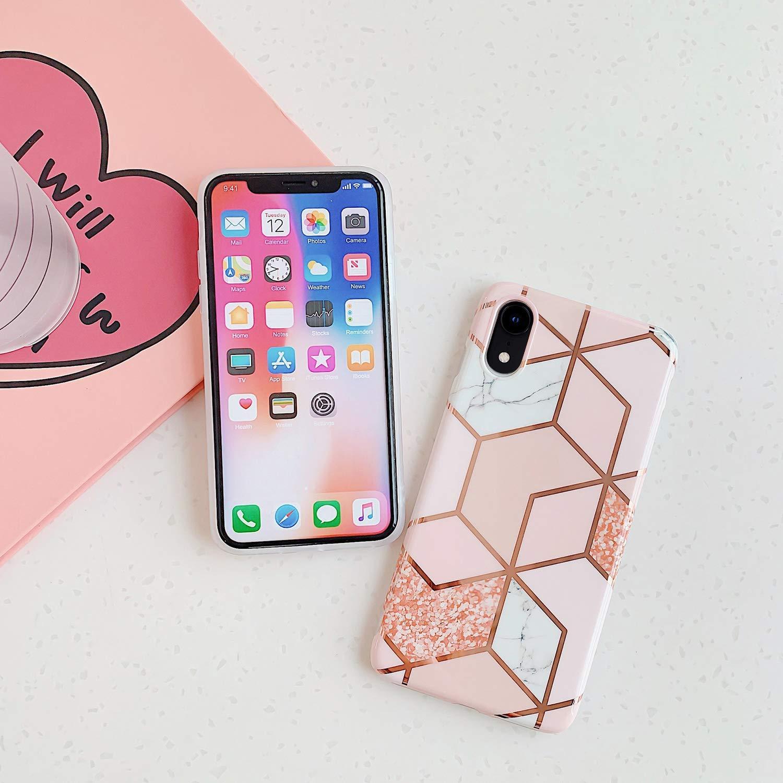 Coque Compatible avec iPhone XR /Étui Marbre Bord dor Ultra Mince Souple TPU Silicone Premium Motif Gel Case Placage Couture Protection Housse Anti-Rayures Antichoc Cover Bumper,Style 1