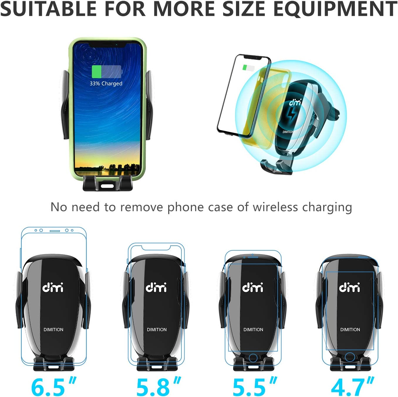 DM Car Phone Mount Air Vent Automatic Clamping Cell Phone Holder for Car Wireless Charger Built-in Battery Compatible with iPhone Xs Max//XR//XS//X//8 Plus Samsung Galaxy S10//S10 Plus//S9//S8//S7//Note 9 10