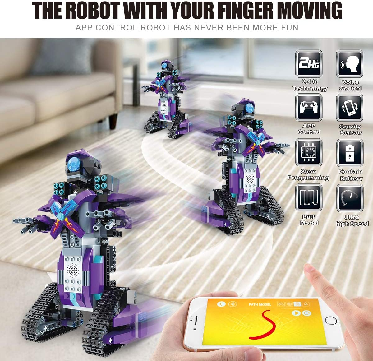 Purple DAZHONG Remote Control Robot STEM Application Building Block Robot Education kit Remote Control Engineering Science Education Building Toy boy Girl Learning Smart Gift