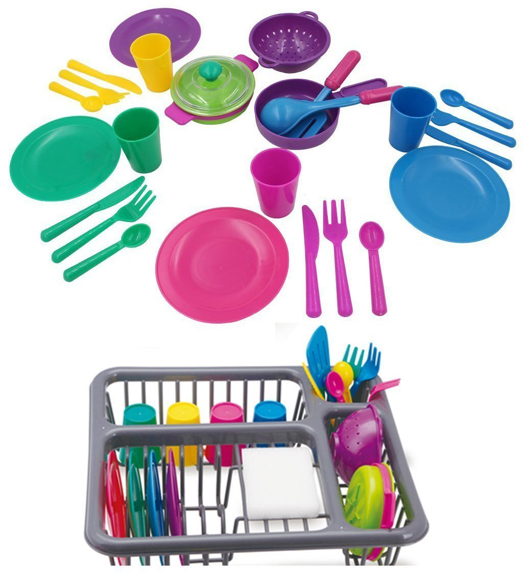 Holy Stone Pretend Play Kitchen Set for Kids Toys Tableware Dishes Playset with Drainer (27 Pcs)