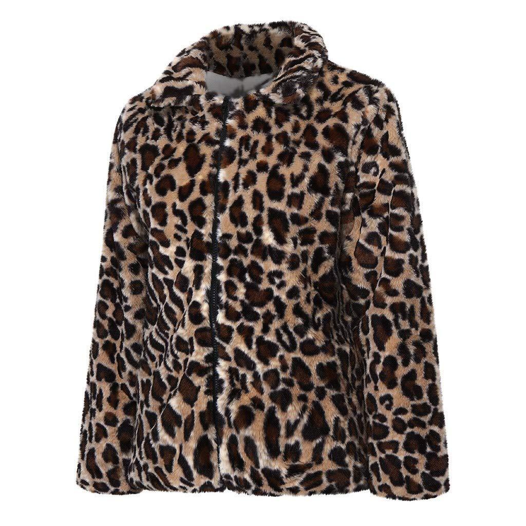 iQKA Women Zip Up Jacket,Fashion Leopard Print Long Sleeve Warm Winter Coat Vintage Faux Fur Outwear Cardigan Tops