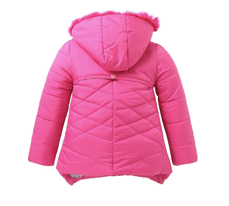 IRELIA Girls Parka Coat Fur Hooded Overcoat Winter Padded