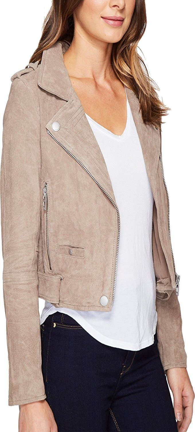 Sothingoodly Fashion;cool Womens Suede Moto Jacket in Sand Stoner by Sothingoodly Jumpsuits-apparel