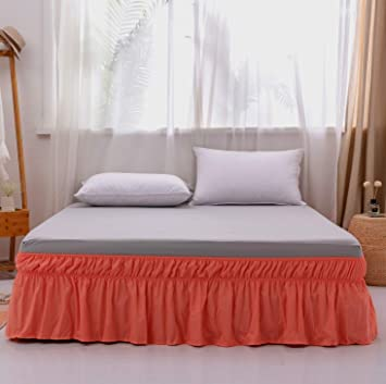1 PIECE MICROFIBER SOLID BED RUFFLE SKIRT 14 INCH DROP SIZE FULL LIGHT TAUPE