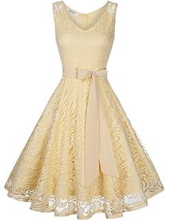 KOJOOIN Damen Kleid Brautjungfernkleid Knielang Spitzenkleid Ärmellos  Cocktailkleid(Verpackung MEHRWEG) d98c304151