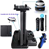 QUMOX Multi-functional PS Showcase Charge Stand & Thumb Grip Stick Covers set for PS4 & PS4 Slim & PS4 Pro & PS VR