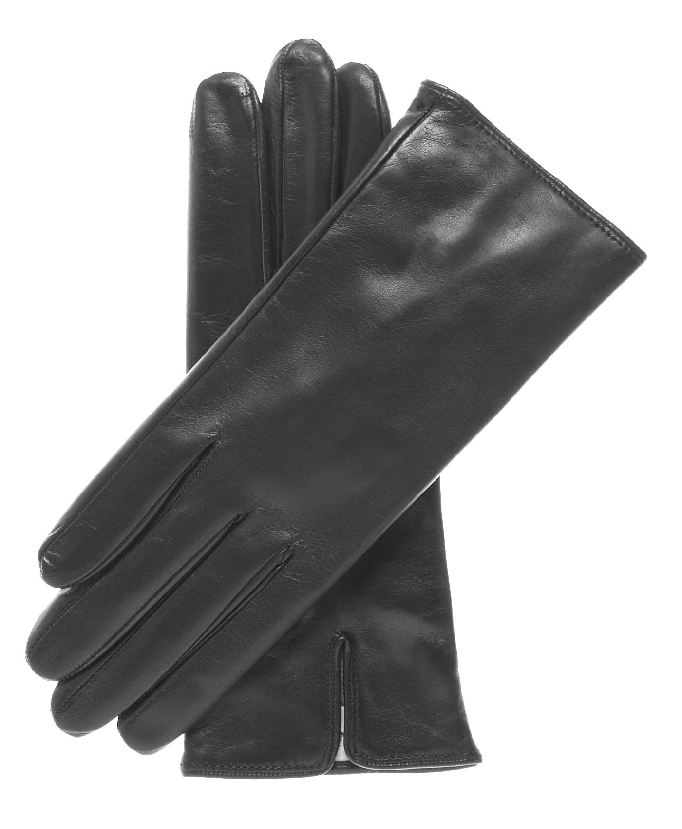 Fratelli Orsini Women's Italian Cashmere Lined Leather Gloves Size 7 1/2 Color Black