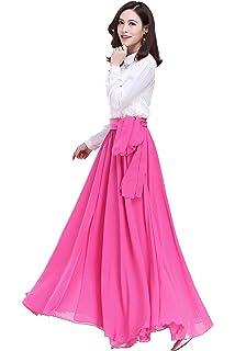 d11b4dc5d3 Sinreefsy Summer Chiffon High Waist Pleated Big Hem Floor/Ankle Length  Beach Maxi Skirt for