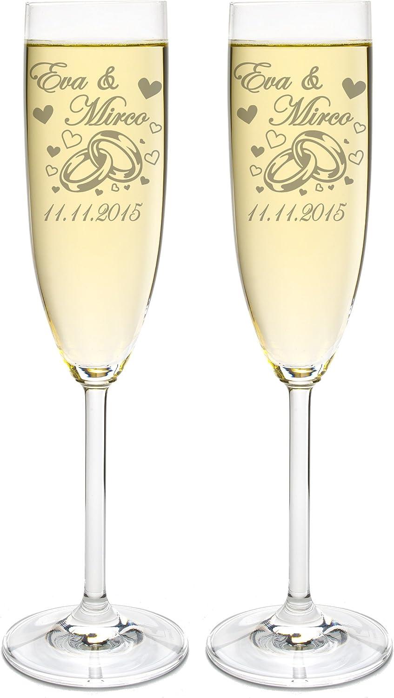 LEONARDO 2 Sektgl/äser mit Geschenkbox und Gravur Ringe Hochzeit Geschenkidee Sektglas-Set graviert