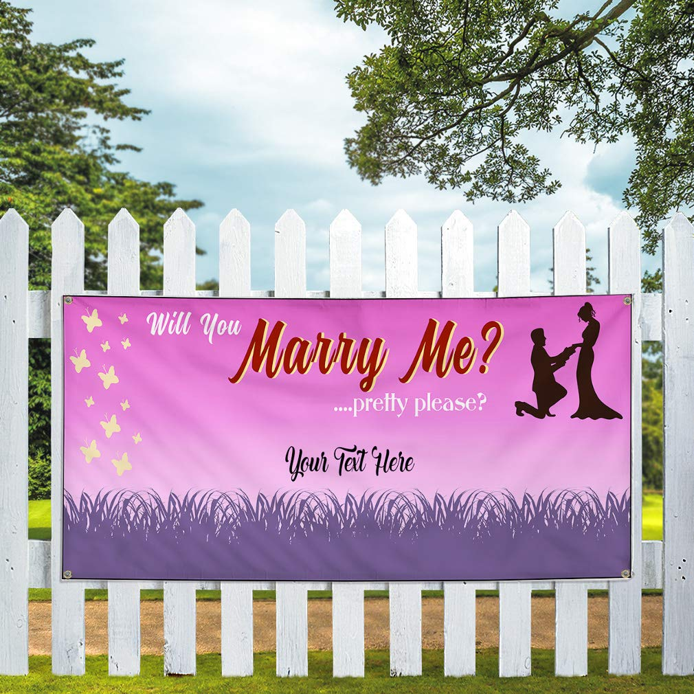 Custom Industrial Vinyl Banner Multiple Sizes Will You Marry Me Pretty Please Love Personalized Text Lifestyle Outdoor Weatherproof Yard Signs Pink 10 Grommets 60x144Inches