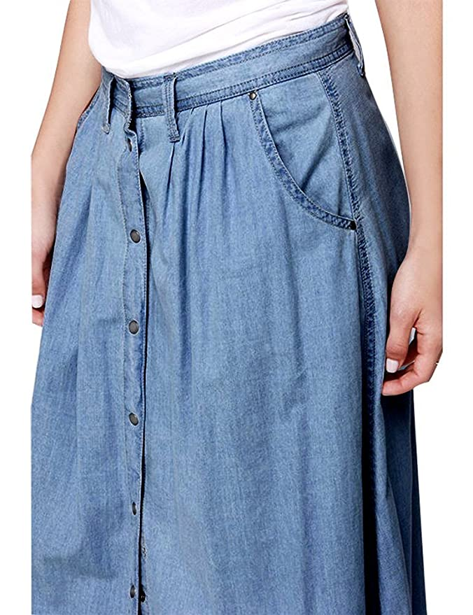 27db7aee57 IDEALSANXUN Women's Casual High Waist A-line Long Denim Jeans Button Down  Skirt with Pocket (Small, Denim blue) at Amazon Women's Clothing store: