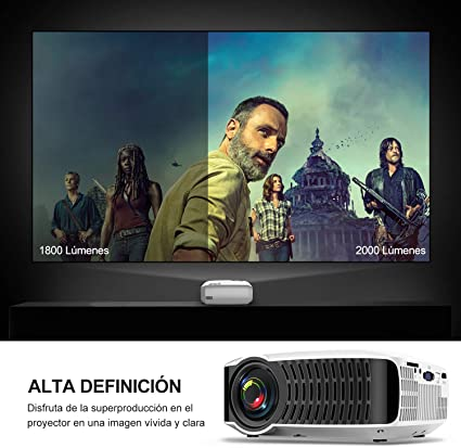 ABOX T22 Mini Proyector, LED 2400 Lúmenes Proyector Portátil de Cine en Casa 1080P Soporte Amazon Fire TV Stick, HDMI, VGA, USB, AV, iPad, iPhone, Android Smartphone Multimedia Video Proyector: Amazon.es: Electrónica