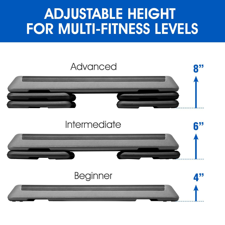 "43 Aerobic Exercise Platform with Adjust 4/"" 6/"" 8 Exercise Stepper for Sports /& Fitness Step Platform with Adjustable Risers"
