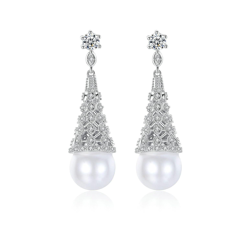 Beydodo Fashion Earrings Dangling Wedding Earring for Brides Round Pearl White Cubic Zirconia