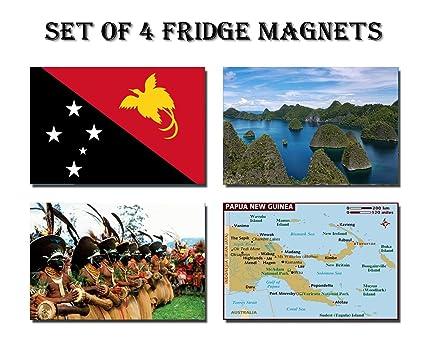 Amazon.com: SET OF 4 PAPUA NEW GUINEA REFRIGERATOR MAGNETS FRIDGE ...