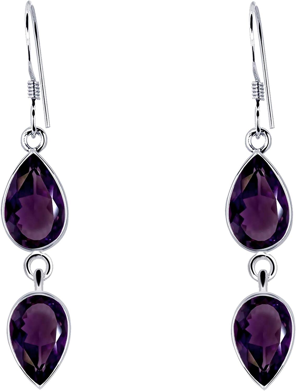 Orchid Jewelry 3.26 ctw Pera Púrpura Amatista Bisel | Pendientes de plata de ley 925 | Níquel gratis Lindo y sencillo regalo para hermana.
