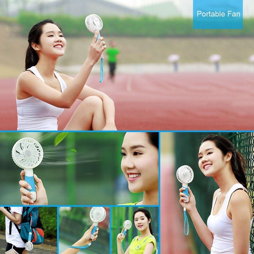 Anpress 2 Speeds Portable USB Handheld Fan,Sports Fan Mini Personal Desktop Air Fan for Home Office and Travel (Blue) Blue