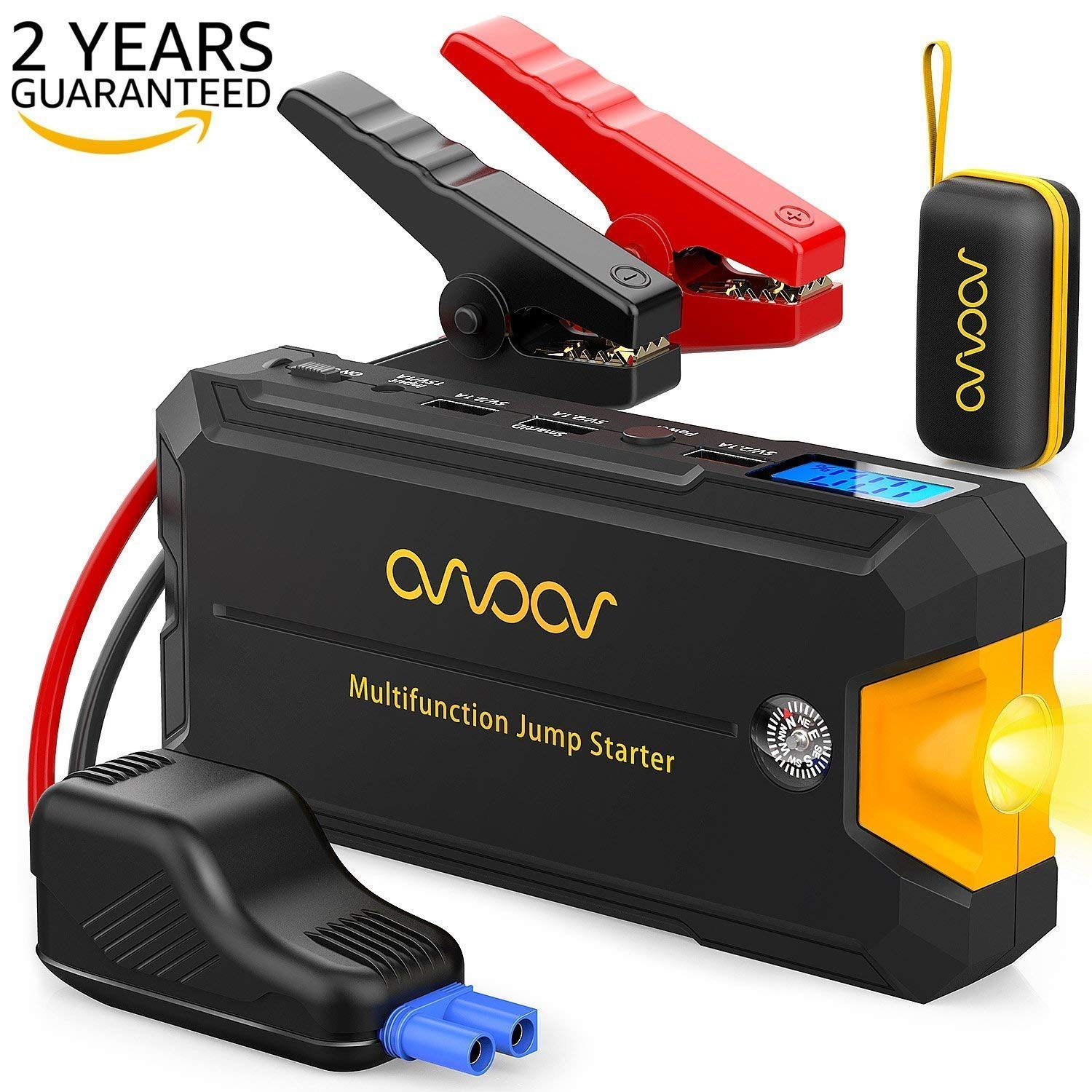 Portable Jump Starter Car Battery Charger, Upgraded 500A-800A Peak (up to 3-5L gas or diesel engine car) 12V Power Pack Battery Booster Power Bank with Smart Charging Port,Compass,LCD Screen OVVOOV