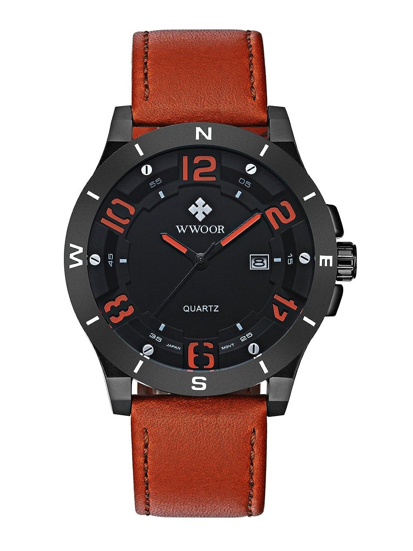 WWOOR 腕時計 メンズ アナログ 三針 クォーツ 30M防水 日付表示 皮革バンド 30M防水 ブラック B01L1OVDQI ブラック-B