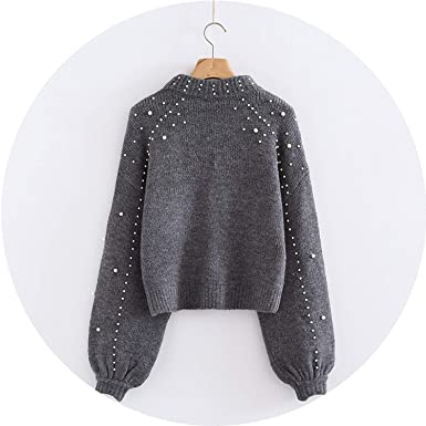 d3408da93992ab Pearl Beaded Womens Pullover Sweaters Long Sleeve Sweater Simple Grey Rib  Knit Jumper Sweaters