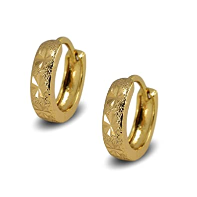 Blue Diamond Club - 18ct Gold Filled Womens Snap Hoop Earrings with Greek Key Pattern for women