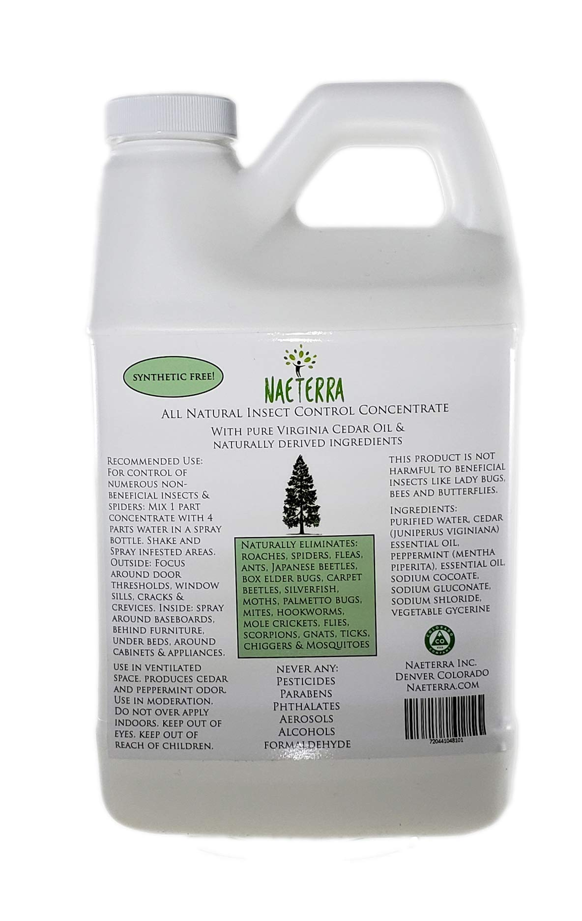 Concentrated Cedar & Peppermint Insect Deterrent - Insecticide Free - Synthetic Free All Natural Pest Control - Dilute 1 Part Concentrate to 4 Parts Water (64 Oz) by Naeterra Aromatherapy Cleaning Concentrate