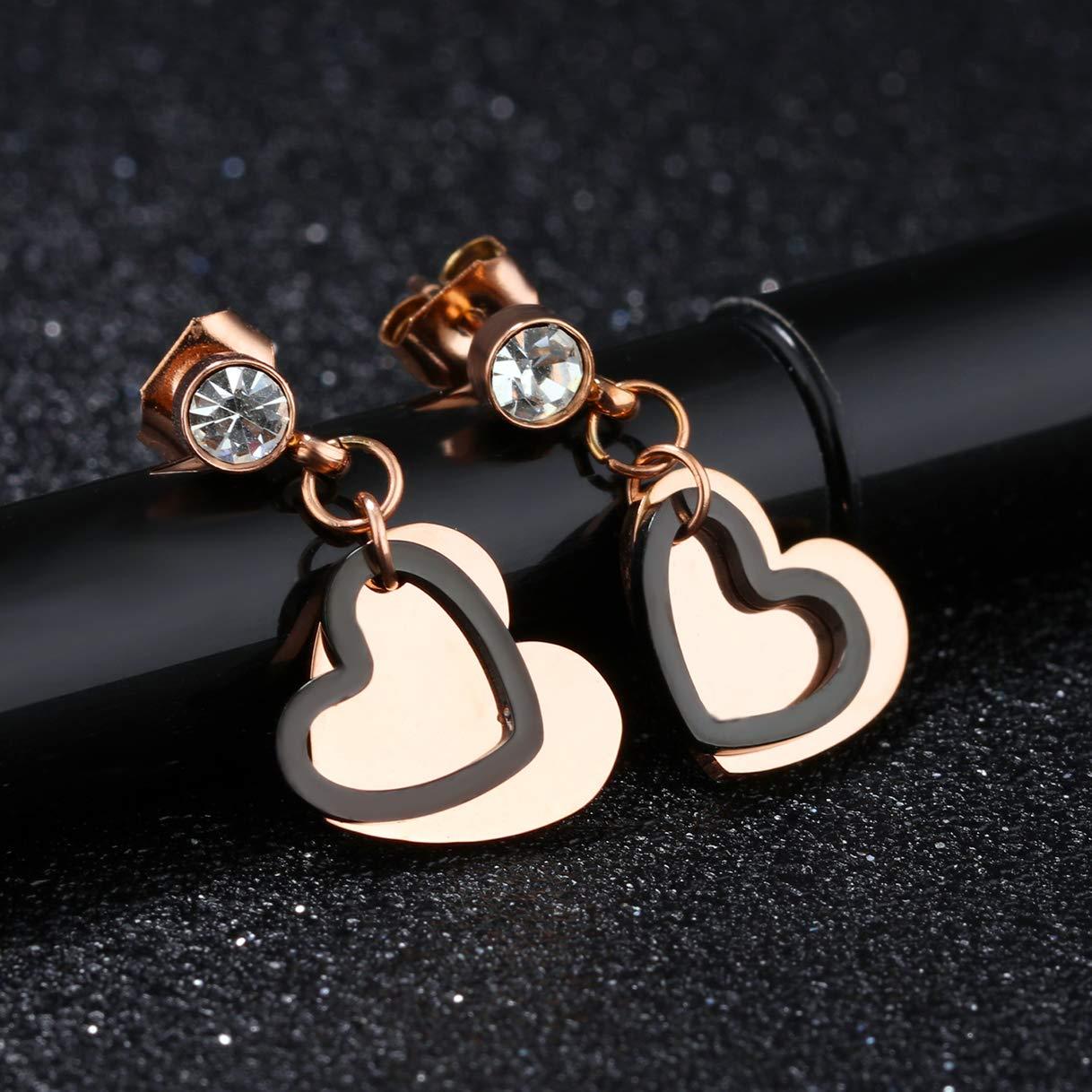CHARMFAME Black Love Heart Drop Earrings Rose Gold Plated Stainless Steel CZ Dangle Earrings for Women /& Girls