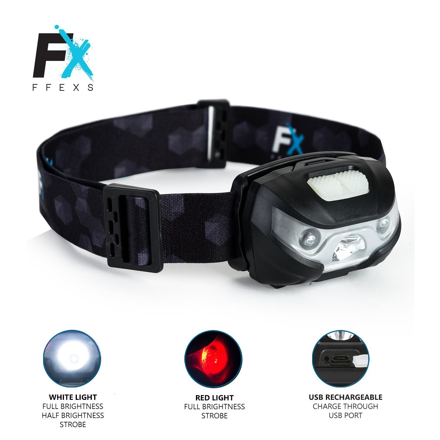 Headlamp LED Headlight Super Bright Premium USB Rechargeable Head Torch Waterproof Design - White & Red Light 5 Modes Comfortable Best Equipment Lamp Bulb Night Running Camping - Solar Flashlight Kids by FX FFEXS (Image #3)