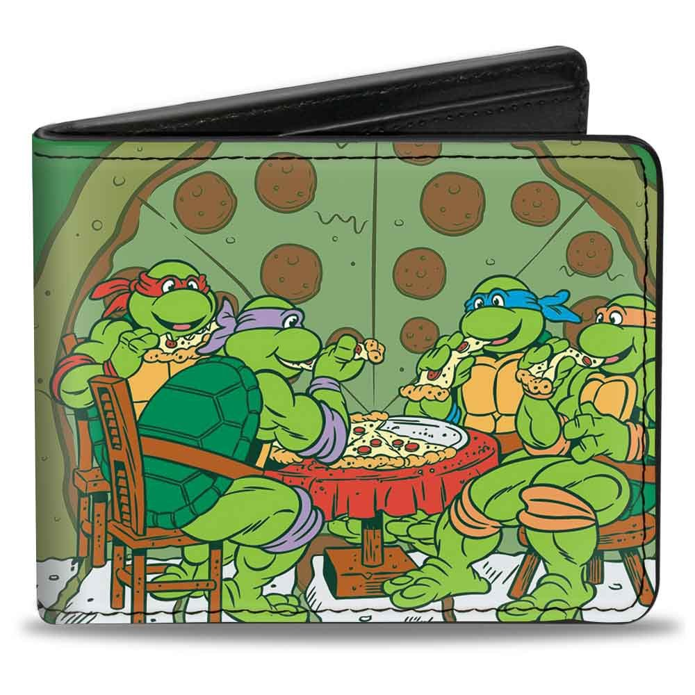 Buckle-Down Men's Wallet Classic Tmnt Ninja Turtles Pizza Party + Mutant Sized Accessory, -Multi, One Size