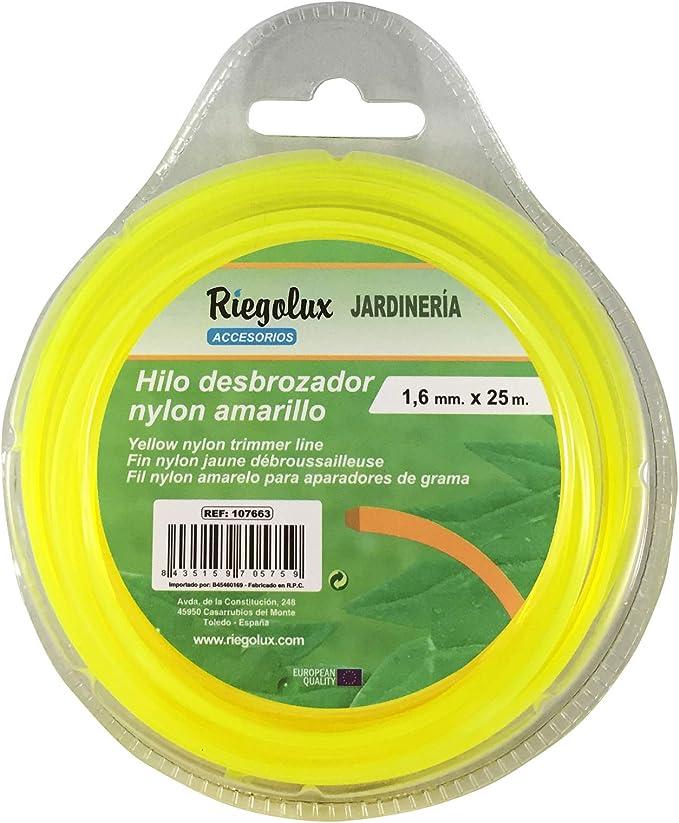 Riegolux 107663 Hilo Desbrozadora Nylon Cuadrada, Amarillo, 1.6 mm x 25 m: Amazon.es: Jardín
