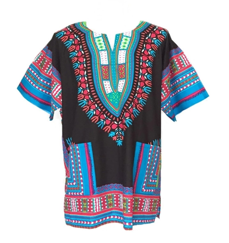 Vipada Handmade Men Dashiki Shirt African Caftan Black with Light Blue Medium