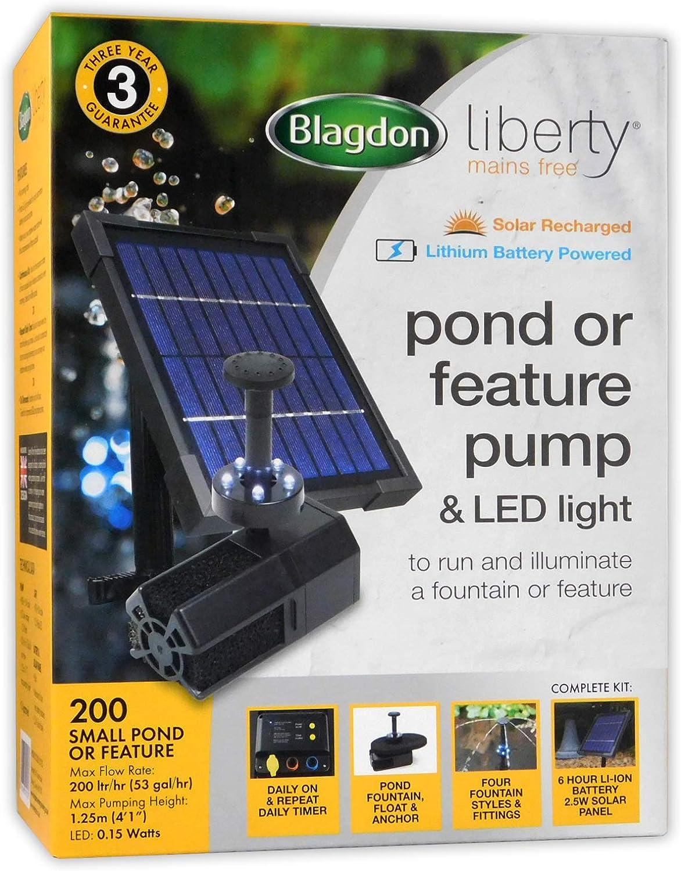 Blagdon Liberty 200 Pompe /à /énergie Solaire et Lampe LED