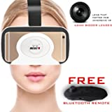 IRUSU MINIVR( White )- with BIGGER 42MM HD OPTICAL RESIN VR GLASSES for better FOV - LIGHTWEIGHT - with Free remote