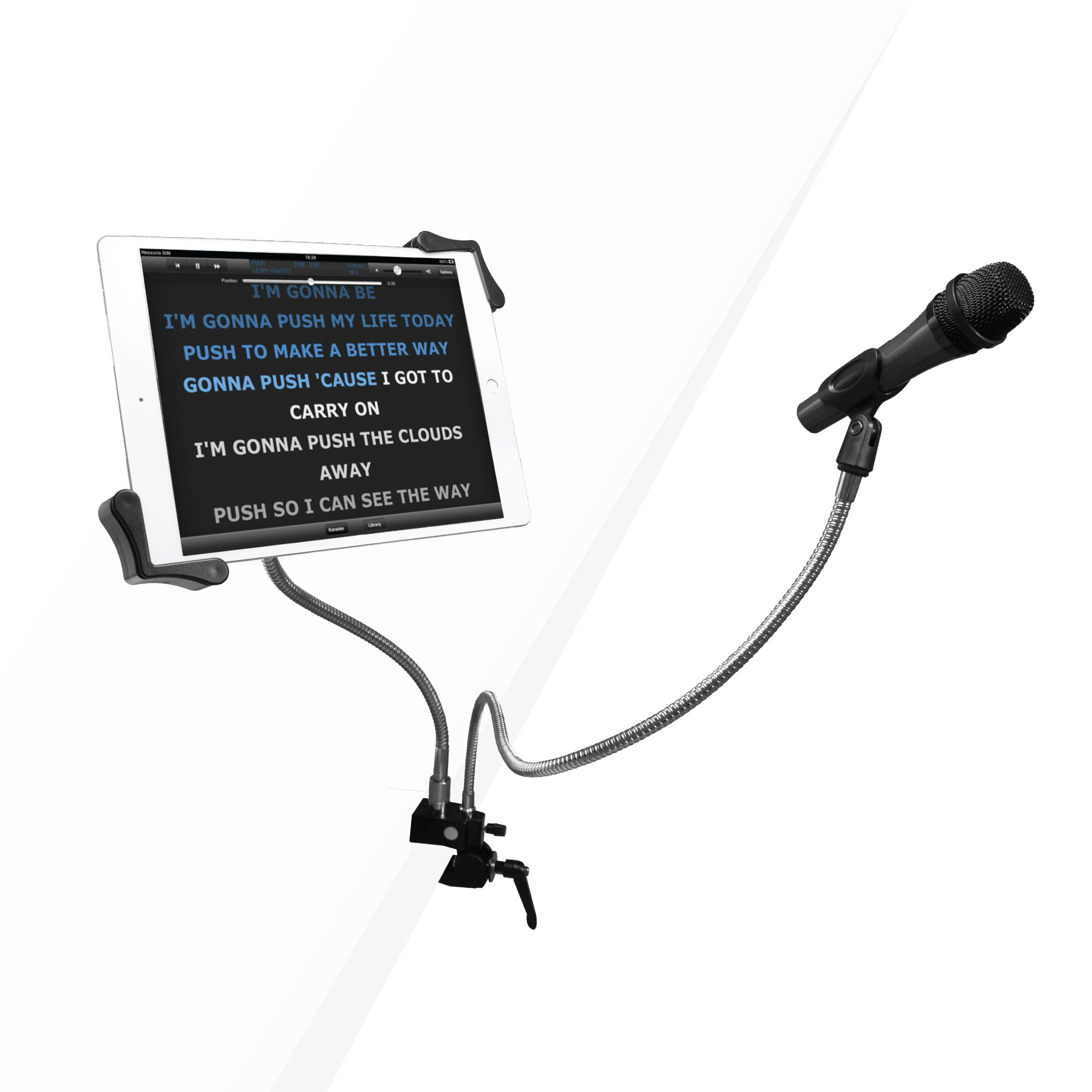 CTA Digital PAD-MTG Microphone Clip and 7-13 Inch Tablet Holder Gooseneck Clamp Stand for Karaoke/DJ/Recording/Performance