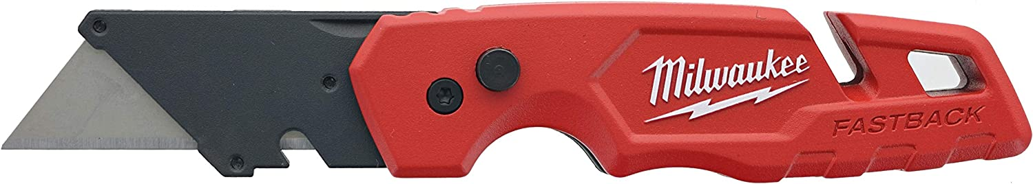 Milwaukee 48-22-1502 Fastback Folding Utility Knife with 5 Blade Storage, Wire Stripping Compartment, and Gut Hook - -