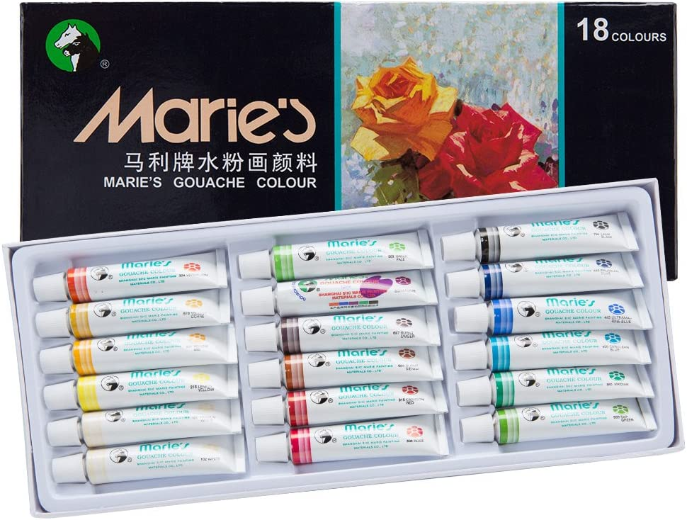 Marie's Extra Fine Gouache Opaque Watercolor Paint Set 12 ml Tubes - Assorted Colors - [Set of 18]