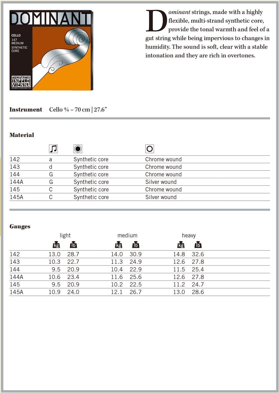 Dominant Strings 144 4//4 Cello Chrome Wound G String