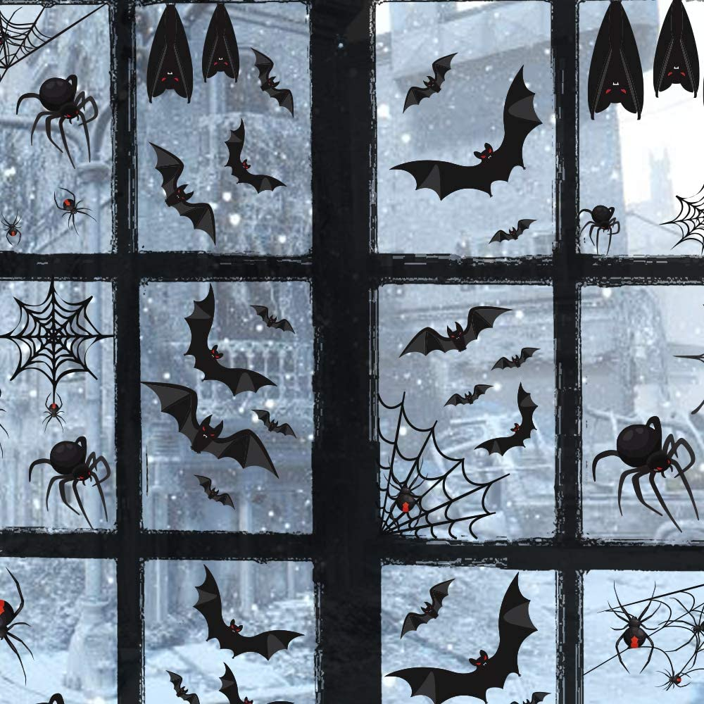 TMCCE 107 Piece Halloween Party Decorations Black Bats Spiders Window Clings Decals Stickers for Halloween Party Supplies Favor
