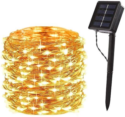 200 LED Lichterkette Solar weihnachts Lichterketten Kupferdraht Außenbeleuchtung