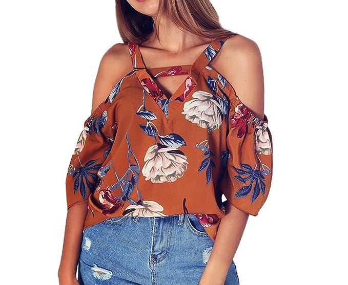 Señoras Casual Impresión Blusa Tops Moda Cuello V Camisetas de Tirantes T-Shirt Verano Mujeres Media Manga de Hombro Frío tee Camisas: Amazon.es: Ropa y ...