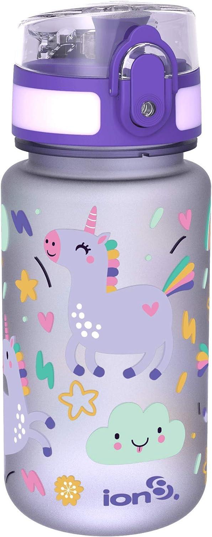 Ion8 Botella de Agua, sin BPS, a pueba de Fugas, 350ml / 12oz, Unicornios