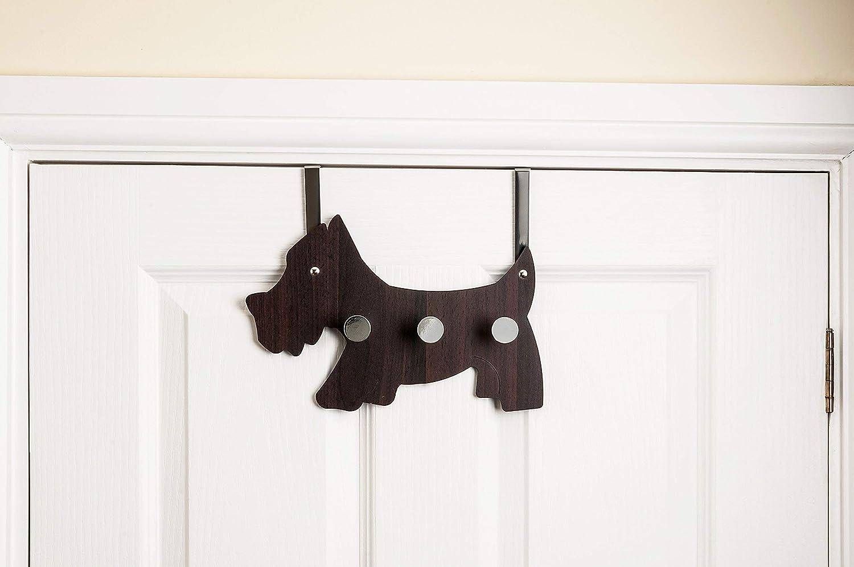 Headbourne HR0236C 3 Coat Hook Scotty Dog Design Over the Door Hanger Dark