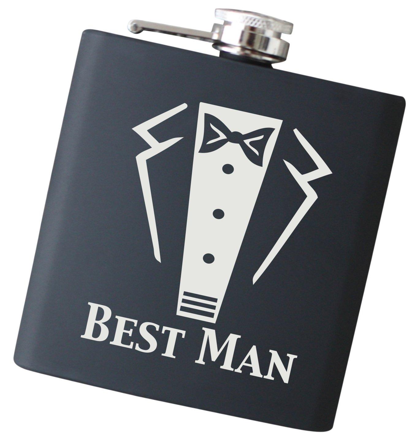 Engraved Best Man Tuxedo 6 oz Flask - Will You Be My Best Man? Liquor Hip Flask (Best Man)