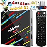 4G 64GB TV Box, Yongf H96 MAX+ Android 8.1 Smart Tv Box RK3328 Quad-Core 64bit Cortex-A53 4 GB 64G Penta-Core Mali-450 Up to 750Mhz+ Full HD / H.265 2.4G WiFi Smart Set Top Box