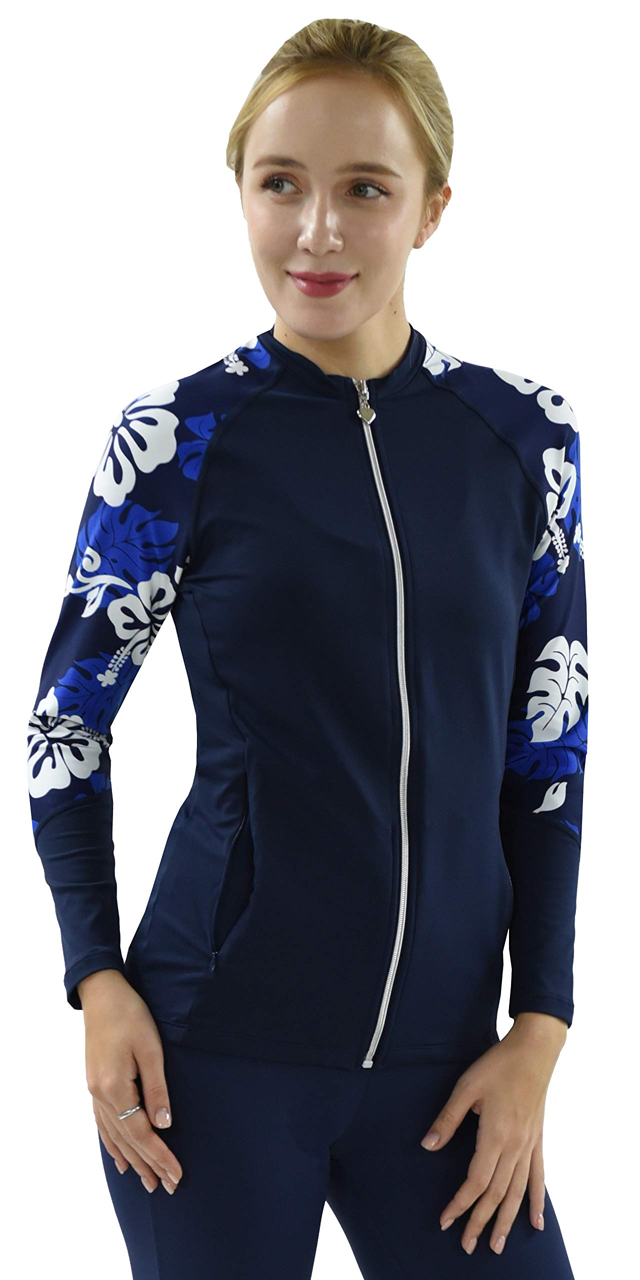 Private Island Hawaii UV Women Rash Guard Zip Up Long Sleeve Yoga Active Workout (XS, NwBW-JRSRGT) by Private Island
