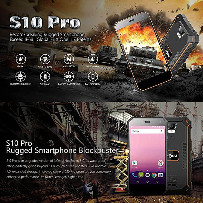 NOMU S10 Pro Smartphone IP68 Impermeable Android 7.0 3GB RAM 32GB ...