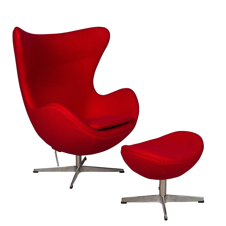 Amazon.com: LeisureMod Modena Mid Century Fabric Accent Egg Chair With  Tilt Lock Mechanism U0026 Ottoman In Red Wool: Kitchen U0026 Dining