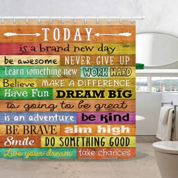 Amazon Com Nymb Funny Motivational Quotes Shower Curtain Inspirational Words Print On Colorful Rustic Wooden Barn Fabric Shower Curtain Wood Plank Board Bathroom Fantastic Decorations 69 Wx70 H Furniture Decor