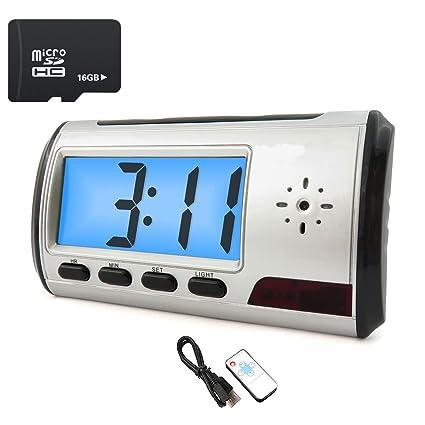 Cámara espía oculta reloj despertador cámara espía portátil DVR detección de movimiento control remoto con tarjeta