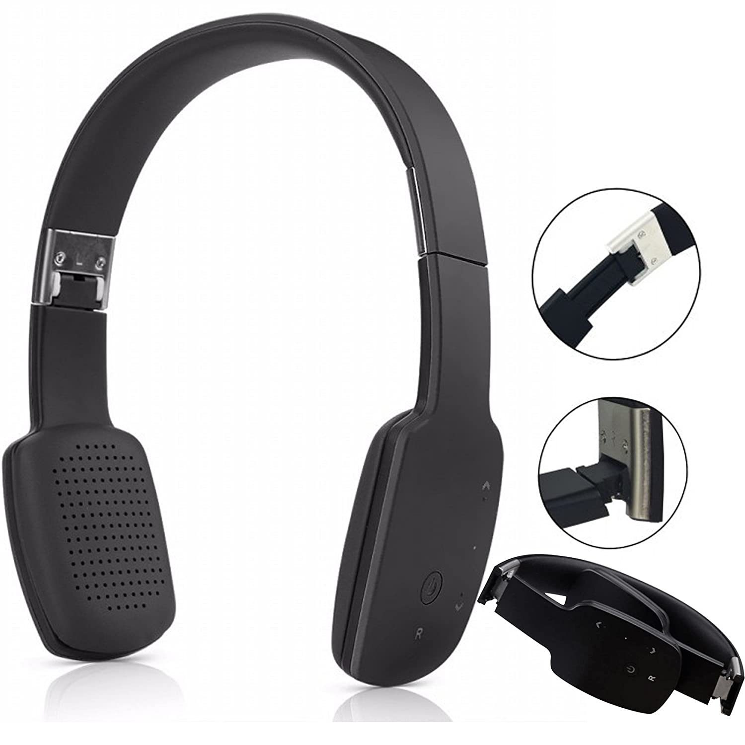 Bluetooth Headset Stereo Wireless Headphone Foldable Wired Headband Earphone with Mic Handsfree for Cellphones PC Laptop Tablet (Black)